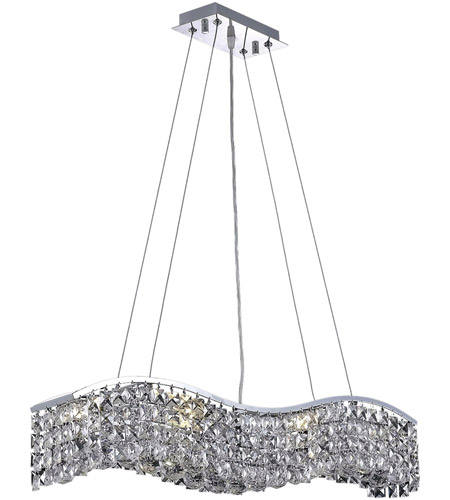 Elegant Lighting Contour 6 Light Dining Chandelier in Chrome with Swarovski Strass Clear Crystal 2041D30C/SS photo