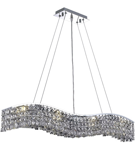 Elegant Lighting Contour 8 Light Dining Chandelier in Chrome with Elegant Cut Clear Crystal 2041D36C/EC photo