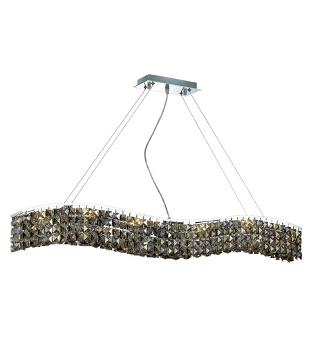 Elegant Lighting Contour 10 Light Dining Chandelier in Chrome with Royal Cut Golden Teak Crystal 2041D44C-GT/RC photo