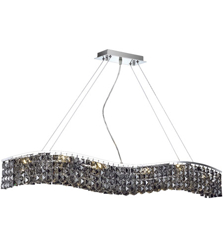 Elegant Lighting Contour 10 Light Dining Chandelier in Chrome with Royal Cut Silver Shade Crystal 2041D44C-SS/RC photo