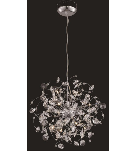 Elegant Lighting Iris 10 Light Dining Chandelier in Chrome with Elegant Cut Clear Crystal 2071D20C/EC photo