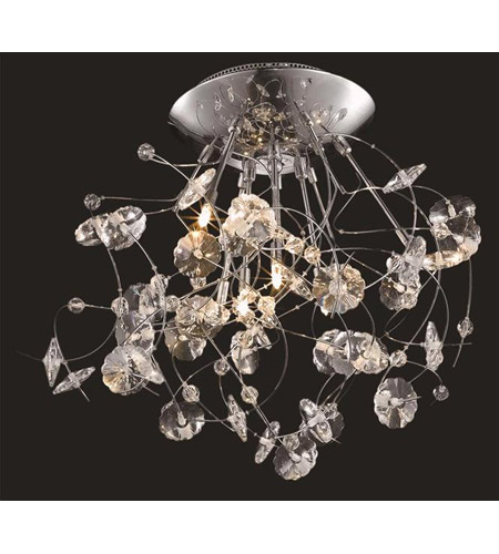 Elegant Lighting Iris 6 Light Flush Mount in Chrome with Elegant Cut Clear Crystal 2071F22C/EC photo