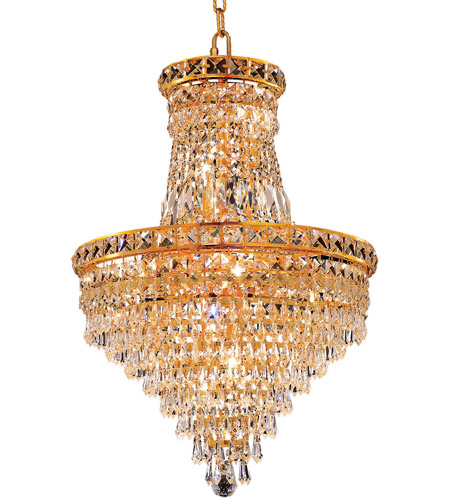 Elegant Lighting Tranquil 12 Light Dining Chandelier in Gold with Swarovski Strass Clear Crystal 2526D18G/SS photo