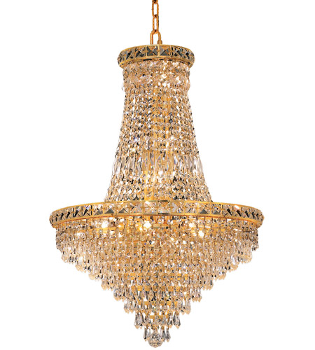 Elegant Lighting Tranquil 22 Light Dining Chandelier in Gold with Royal Cut Clear Crystal 2526D22G/RC photo