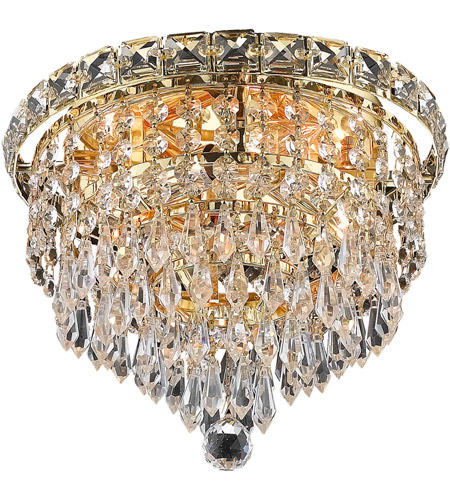 Elegant Lighting Tranquil 4 Light Flush Mount in Gold with Royal Cut Clear Crystal 2526F10G/RC photo