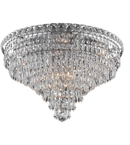 Elegant Lighting Tranquil 10 Light Flush Mount in Chrome with Elegant Cut Clear Crystal 2526F20C/EC photo