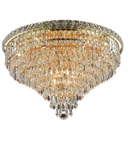 Elegant Lighting Tranquil 10 Light Flush Mount in Gold with Elegant Cut Clear Crystal 2526F20G/EC photo