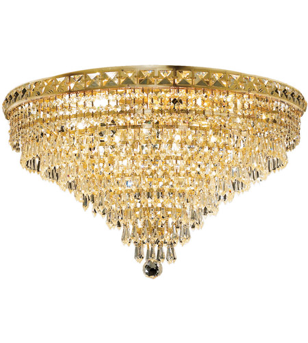 Elegant Lighting 2526F24G/SS Tranquil 12 Light 24 inch Gold Flush Mount Ceiling Light in Swarovski Strass photo