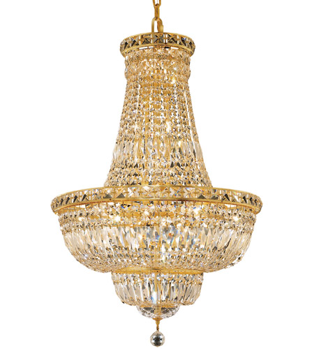 Elegant Lighting Tranquil 22 Light Dining Chandelier in Gold with Swarovski Strass Clear Crystal 2528D22G/SS photo