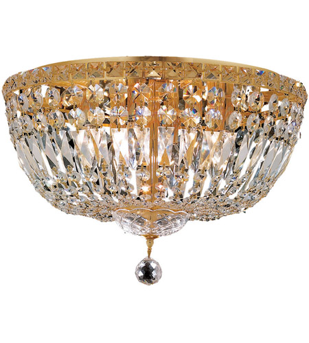 Elegant Lighting Tranquil 8 Light Flush Mount in Gold with Royal Cut Clear Crystal 2528F18G/RC photo