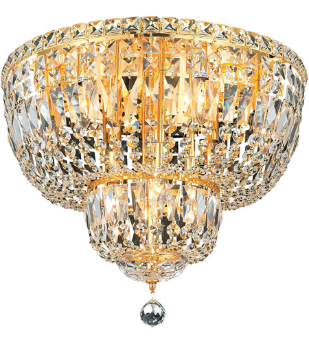 Elegant Lighting 2528F20G/SS Tranquil 10 Light 20 inch Gold Flush Mount Ceiling Light in Swarovski Strass photo