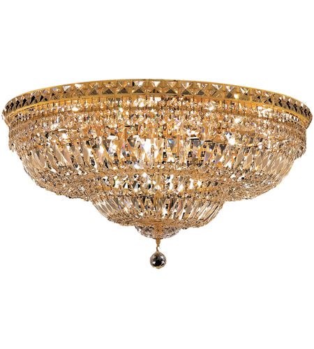Elegant Lighting Tranquil 18 Light Flush Mount in Gold with Elegant Cut Clear Crystal 2528F30G/EC photo