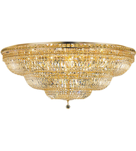 Elegant Lighting Tranquil 33 Light Flush Mount in Gold with Swarovski Strass Clear Crystal 2528F48G/SS photo