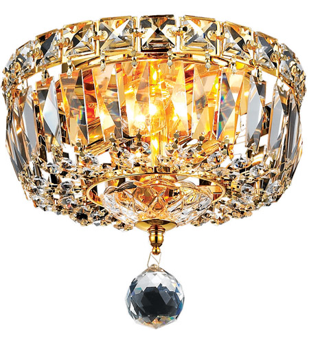 Elegant Lighting Tranquil 2 Light Flush Mount in Gold with Elegant Cut Clear Crystal 2528F8G/EC photo