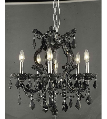 Elegant Lighting Maria Theresa 6 Light Dining Chandelier in Black with Swarovski Strass Jet Black Crystal 2800D20B/SS photo