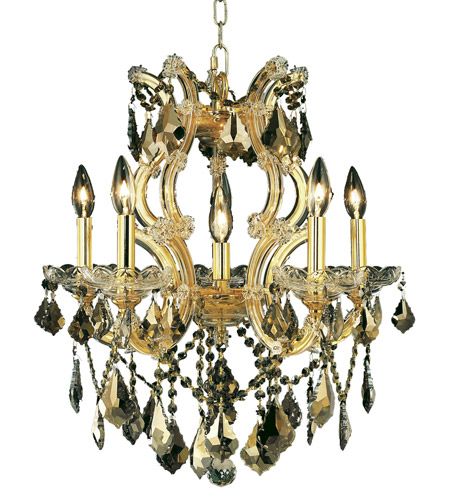 Elegant Lighting Maria Theresa 6 Light Dining Chandelier in Gold with Royal Cut Golden Teak Crystal 2800D20G-GT/RC photo