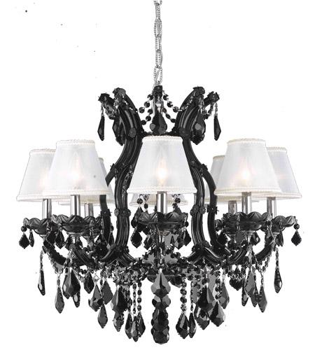 be3f1153557 Elegant Lighting 2800D26B SS+SH-1R6S Maria Theresa 9 Light 28 inch Black  Dining Chandelier Ceiling Light in Clear