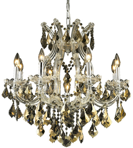 Elegant Lighting Maria Theresa 9 Light Dining Chandelier in Chrome with Royal Cut Golden Teak Crystal 2800D26C-GT/RC photo