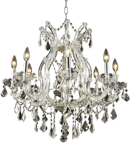 Elegant Lighting 2800D26C/RC Maria Theresa 9 Light 26 inch Chrome Dining Chandelier Ceiling Light in Clear, Royal Cut, (None) photo