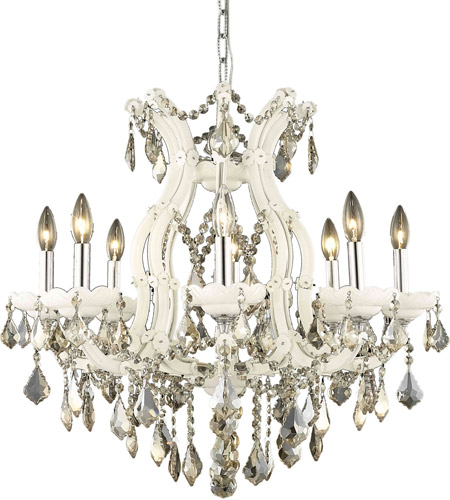 Elegant Lighting Maria Theresa 9 Light Dining Chandelier in White with Royal Cut Golden Teak Crystal 2800D26WH-GT/RC photo