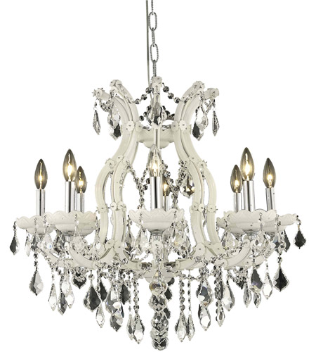 Elegant Lighting Maria Theresa 9 Light Dining Chandelier in White with Elegant Cut Clear Crystal 2800D26WH/EC photo
