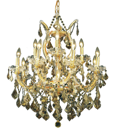 Elegant Lighting Maria Theresa 13 Light Dining Chandelier in Gold with Royal Cut Golden Teak Crystal 2800D27G-GT/RC photo