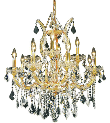 Elegant Lighting 2800D27G/SA Maria Theresa 13 Light 27 inch Gold Dining Chandelier Ceiling Light in Clear, Spectra Swarovski photo
