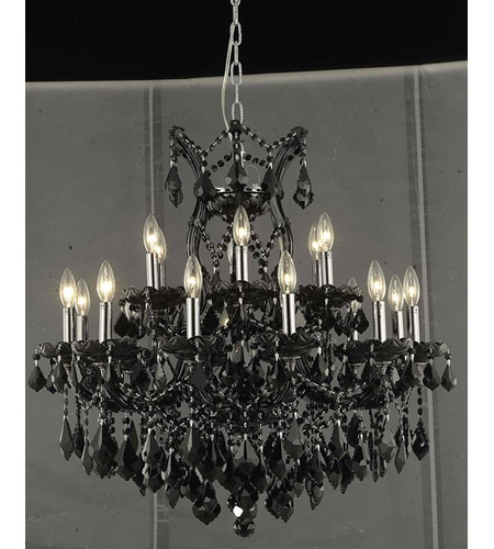 Elegant Lighting Maria Theresa 19 Light Dining Chandelier in Black with Swarovski Strass Jet Black Crystal 2800D30B/SS photo