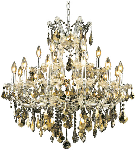 Elegant Lighting 2800D30C-GT/SS Maria Theresa 19 Light 30 inch Chrome Dining Chandelier Ceiling Light in Golden Teak, Swarovski Strass photo