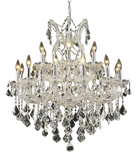 Elegant Lighting Maria Theresa 19 Light Dining Chandelier in Chrome with Elegant Cut Clear Crystal 2800D30C/EC photo