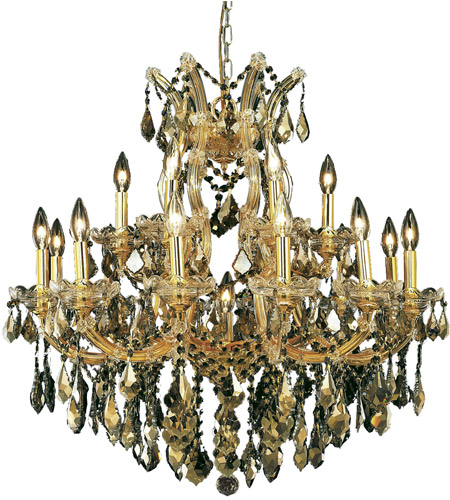 Elegant Lighting 2800D30G-GT/SS Maria Theresa 19 Light 30 inch Gold Dining Chandelier Ceiling Light in Golden Teak, Swarovski Strass photo