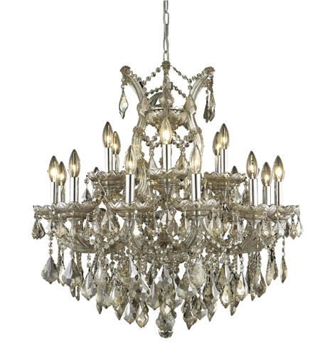 Elegant Lighting 2800D30GT-GT/RC Maria Theresa 19 Light 30 inch Golden Teak Dining Chandelier Ceiling Light in Royal Cut photo
