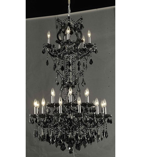 Elegant Lighting Maria Theresa 25 Light Dining Chandelier in Black with Royal Cut Jet Black Crystal 2800D30SB/RC photo