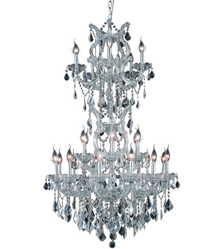 Elegant Lighting Maria Theresa 25 Light Dining Chandelier in Silver and Clear Mirror with Elegant Cut Clear Crystal 2800D30SC/EC photo