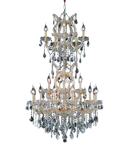 Elegant Lighting 2800D30SG/EC Maria Theresa 25 Light 30 inch Gold Dining Chandelier Ceiling Light in Clear, Elegant Cut photo
