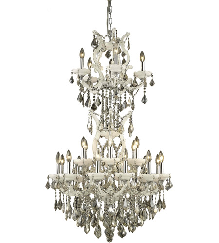 Elegant Lighting Maria Theresa 25 Light Dining Chandelier in White with Royal Cut Golden Teak Crystal 2800D30SWH-GT/RC photo