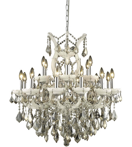 Elegant Lighting Maria Theresa 19 Light Dining Chandelier in White with Royal Cut Golden Teak Crystal 2800D30WH-GT/RC photo