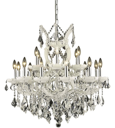 Elegant Lighting 2800D30WH/RC Maria Theresa 19 Light 30 inch White Dining Chandelier Ceiling Light in Clear, Royal Cut photo