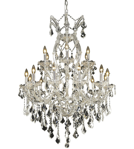 Elegant Lighting Maria Theresa 19 Light Dining Chandelier in Chrome with Swarovski Strass Clear Crystal 2800D32C/SS photo