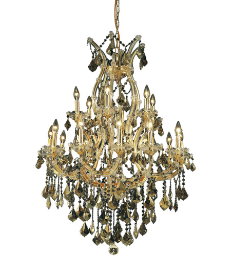 Elegant Lighting Maria Theresa 19 Light Dining Chandelier in Gold with Swarovski Strass Golden Teak Crystal 2800D32G-GT/SS photo
