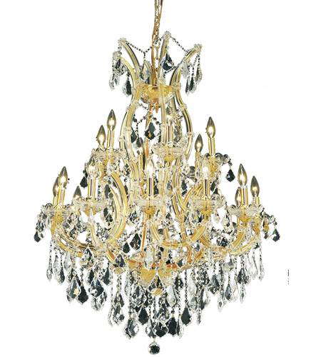 Elegant Lighting Maria Theresa 19 Light Dining Chandelier in Gold with Elegant Cut Clear Crystal 2800D32G/EC photo