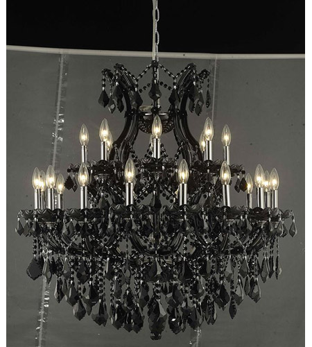 Elegant Lighting Maria Theresa 24 Light Dining Chandelier in Black with Swarovski Strass Clear Crystal 2800D36B/SS photo