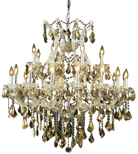 Elegant Lighting 2800D36C-GT/RC Maria Theresa 24 Light 36 inch Chrome Dining Chandelier Ceiling Light in Golden Teak, Royal Cut photo