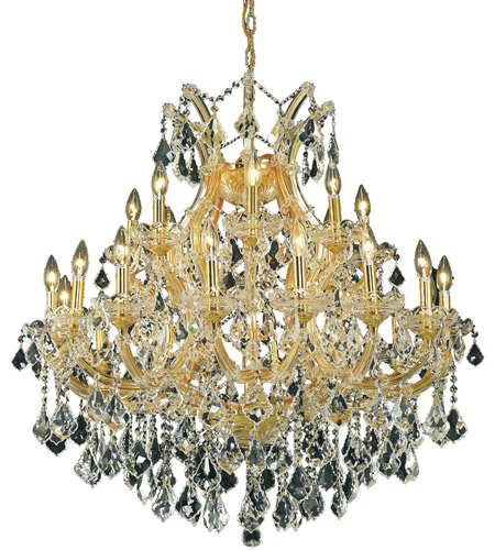 Elegant Lighting Maria Theresa 24 Light Dining Chandelier in Gold with Swarovski Strass Clear Crystal 2800D36G/SS photo