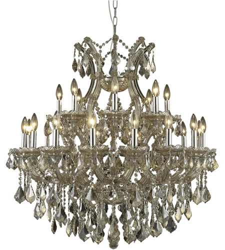 Elegant Lighting Maria Theresa Four Light Dining Chandelier In Golden Teak With Swarovski Strass