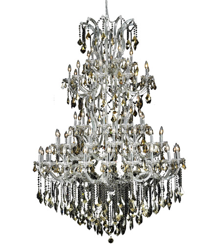 Elegant Lighting Maria Theresa 61 Light Foyer in Chrome with Swarovski Strass Golden Teak Crystal 2800G54C-GT/SS photo