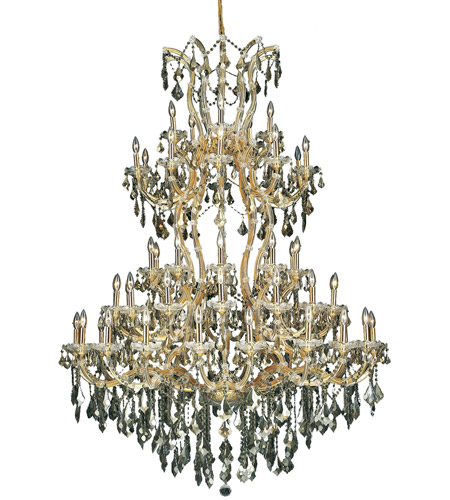 Elegant Lighting 2800G54G-GT/SS Maria Theresa 61 Light 54 inch Gold Foyer Ceiling Light in Golden Teak, Swarovski Strass photo