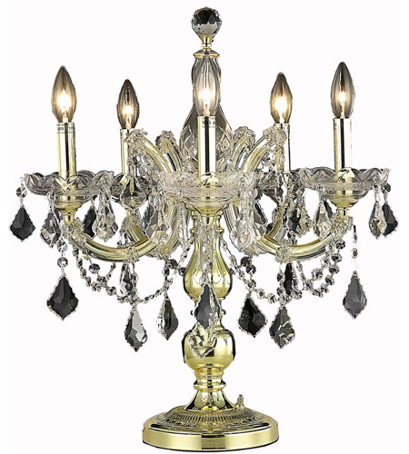 Elegant Lighting Maria Theresa 5 Light Table Lamp in Gold with Elegant Cut Clear Crystal 2800TL19G/EC photo