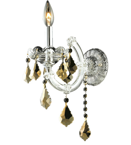 Elegant Lighting Maria Theresa 1 Light Wall Sconce in Chrome with Royal Cut Golden Teak Crystal 2800W1C-GT/RC photo