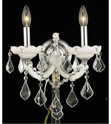 Elegant Lighting 2800W2WH/EC Maria Theresa 2 Light 12 inch White Wall Sconce Wall Light in Clear, Elegant Cut photo